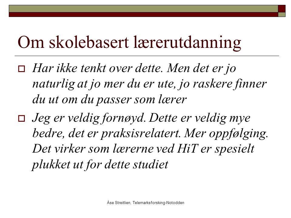 Åse Streitlien, Telemarksforsking-Notodden Om skolebasert lærerutdanning  Har ikke tenkt over dette. Men det er jo naturlig at jo mer du er ute, jo r
