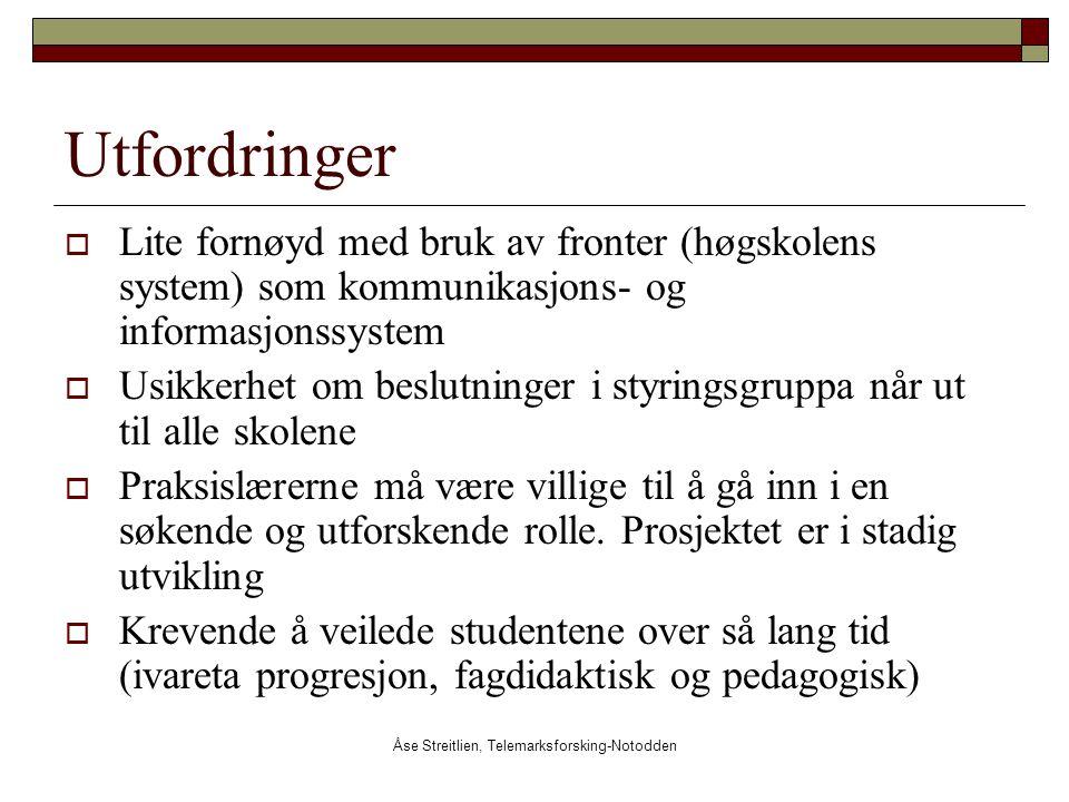 Åse Streitlien, Telemarksforsking-Notodden Utfordringer  Lite fornøyd med bruk av fronter (høgskolens system) som kommunikasjons- og informasjonssyst
