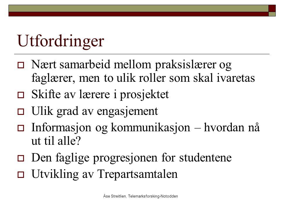 Åse Streitlien, Telemarksforsking-Notodden Utfordringer  Nært samarbeid mellom praksislærer og faglærer, men to ulik roller som skal ivaretas  Skift