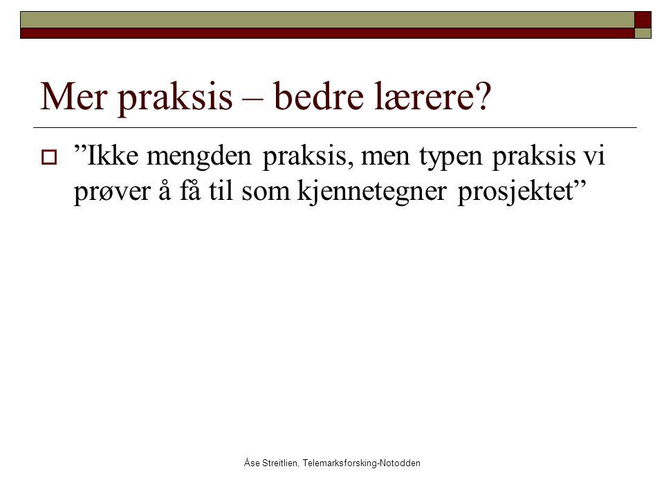 """Åse Streitlien, Telemarksforsking-Notodden Mer praksis – bedre lærere?  """"Ikke mengden praksis, men typen praksis vi prøver å få til som kjennetegner"""
