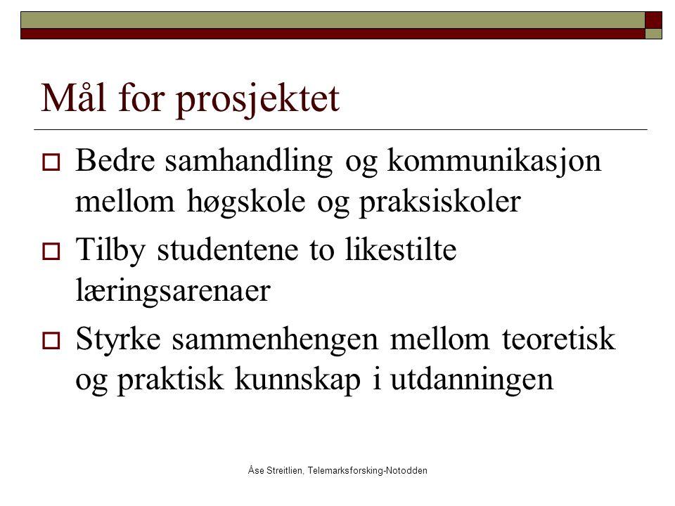 Åse Streitlien, Telemarksforsking-Notodden Mål for prosjektet  Bedre samhandling og kommunikasjon mellom høgskole og praksiskoler  Tilby studentene