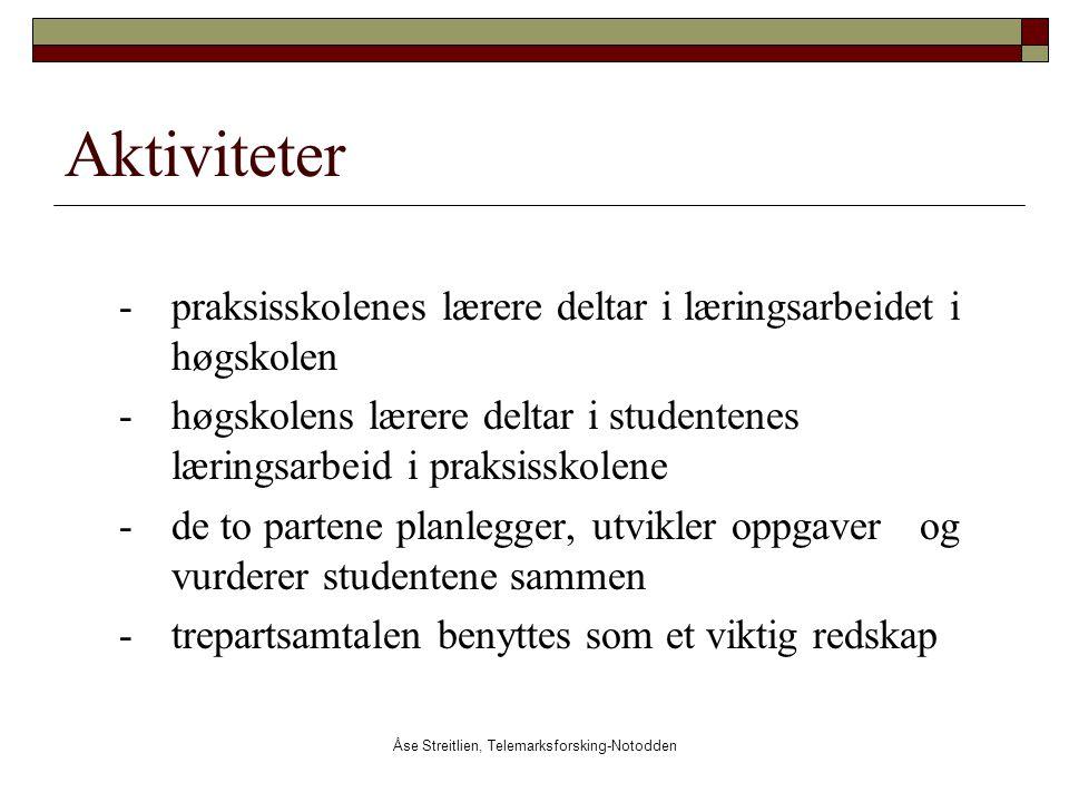 Åse Streitlien, Telemarksforsking-Notodden Aktiviteter - praksisskolenes lærere deltar i læringsarbeidet i høgskolen -høgskolens lærere deltar i stude