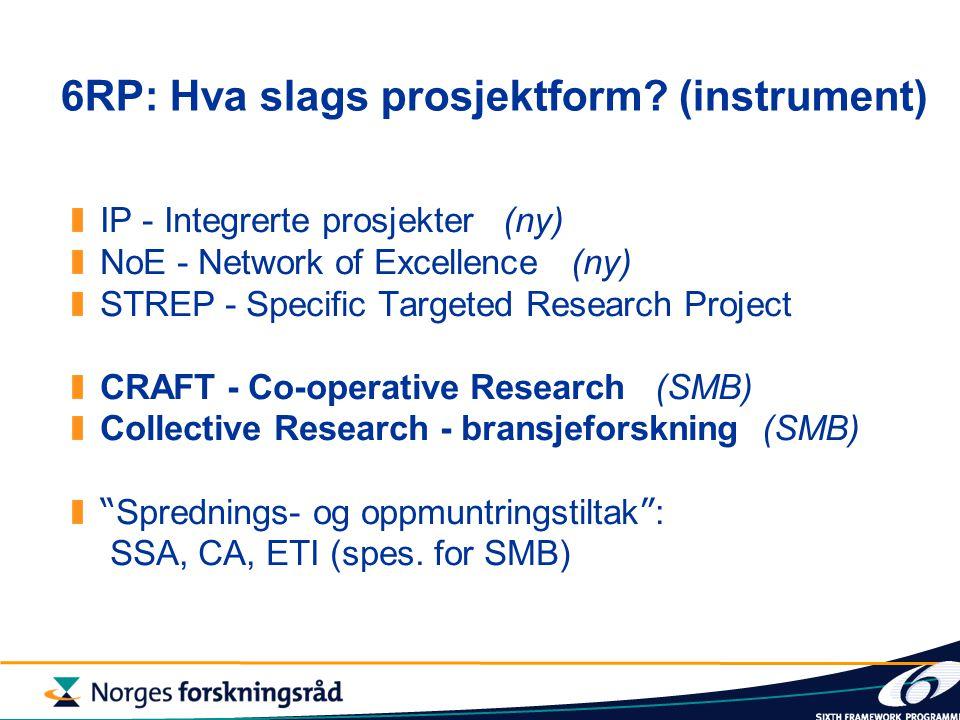 6RP: Hva slags prosjektform.