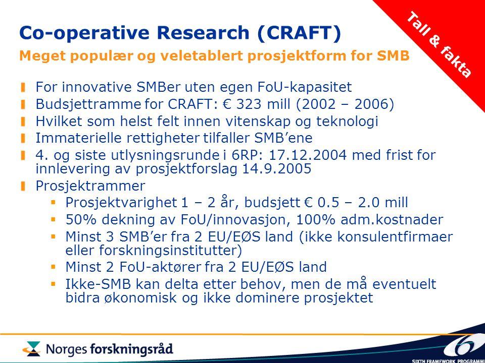 Co-operative Research (CRAFT) Meget populær og veletablert prosjektform for SMB For innovative SMBer uten egen FoU-kapasitet Budsjettramme for CRAFT: € 323 mill (2002 – 2006) Hvilket som helst felt innen vitenskap og teknologi Immaterielle rettigheter tilfaller SMB'ene 4.