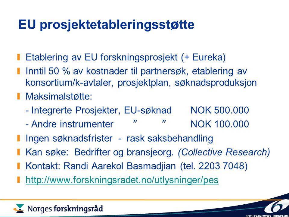 EU prosjektetableringsst ø tte Etablering av EU forskningsprosjekt (+ Eureka) Inntil 50 % av kostnader til partners ø k, etablering av konsortium/k-avtaler, prosjektplan, s ø knadsproduksjon Maksimalst ø tte: - Integrerte Prosjekter, EU-s ø knadNOK 500.000 - Andre instrumenter NOK 100.000 Ingen s ø knadsfrister - rask saksbehandling Kan s ø ke: Bedrifter og bransjeorg.