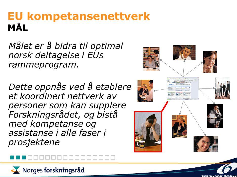 EU kompetansenettverk MÅL Målet er å bidra til optimal norsk deltagelse i EUs rammeprogram.