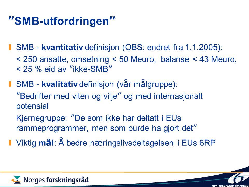 SMB-utfordringen SMB - kvantitativ definisjon (OBS: endret fra 1.1.2005): < 250 ansatte, omsetning < 50 Meuro, balanse < 43 Meuro, < 25 % eid av ikke-SMB SMB - kvalitativ definisjon (v å r m å lgruppe): Bedrifter med viten og vilje og med internasjonalt potensial Kjernegruppe: De som ikke har deltatt i EUs rammeprogrammer, men som burde ha gjort det Viktig m å l: Å bedre n æ ringslivsdeltagelsen i EUs 6RP