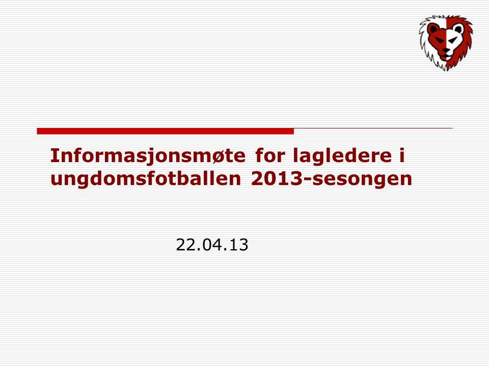 Informasjonsmøte for lagledere i ungdomsfotballen 2013-sesongen 22.04.13
