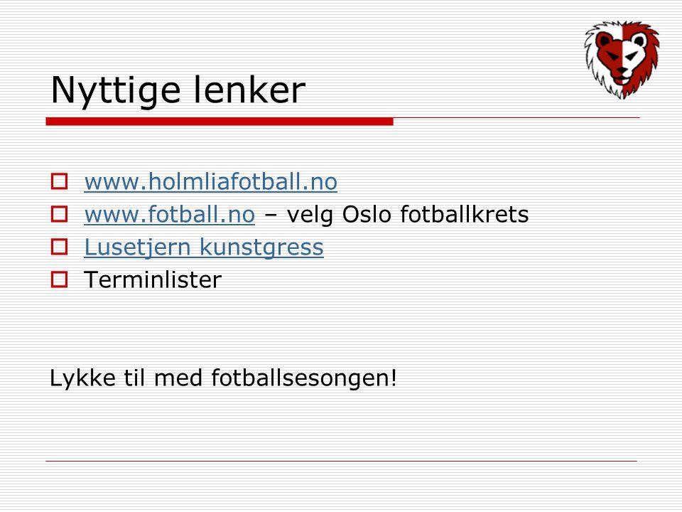 Nyttige lenker  www.holmliafotball.no www.holmliafotball.no  www.fotball.no – velg Oslo fotballkrets www.fotball.no  Lusetjern kunstgress Lusetjern kunstgress  Terminlister Lykke til med fotballsesongen!