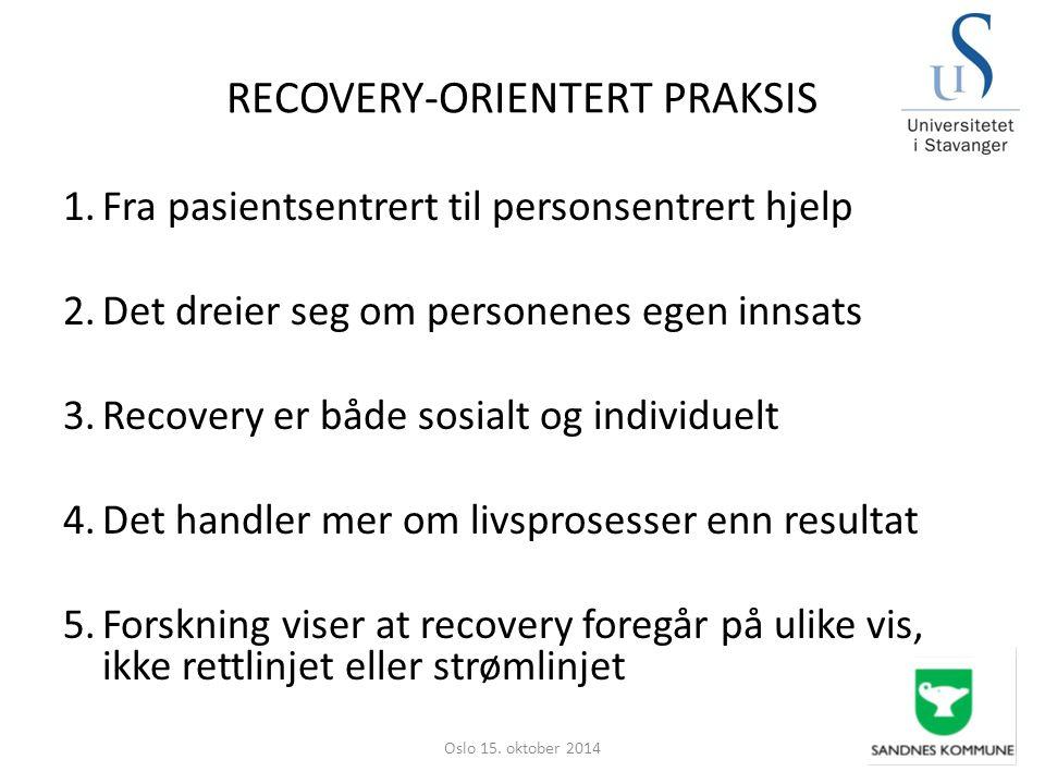 RECOVERY-ORIENTERT PRAKSIS 1.Fra pasientsentrert til personsentrert hjelp 2.Det dreier seg om personenes egen innsats 3.Recovery er både sosialt og in