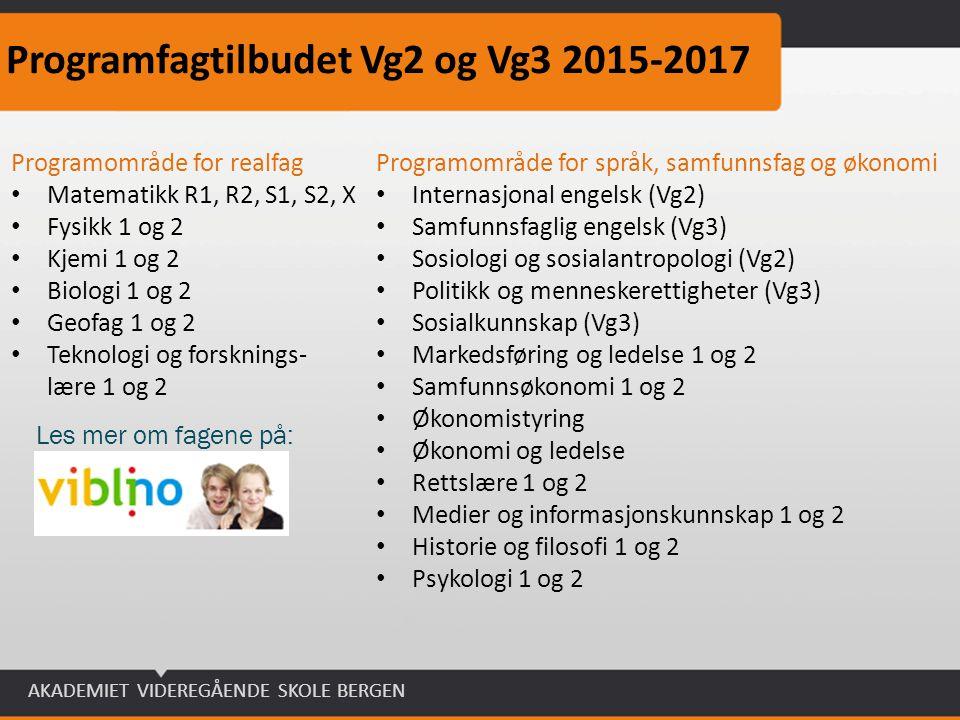 AKADEMIET VIDEREGÅENDE SKOLE BERGEN Programfagtilbudet Vg2 og Vg3 2015-2017 Programområde for realfag Matematikk R1, R2, S1, S2, X Fysikk 1 og 2 Kjemi