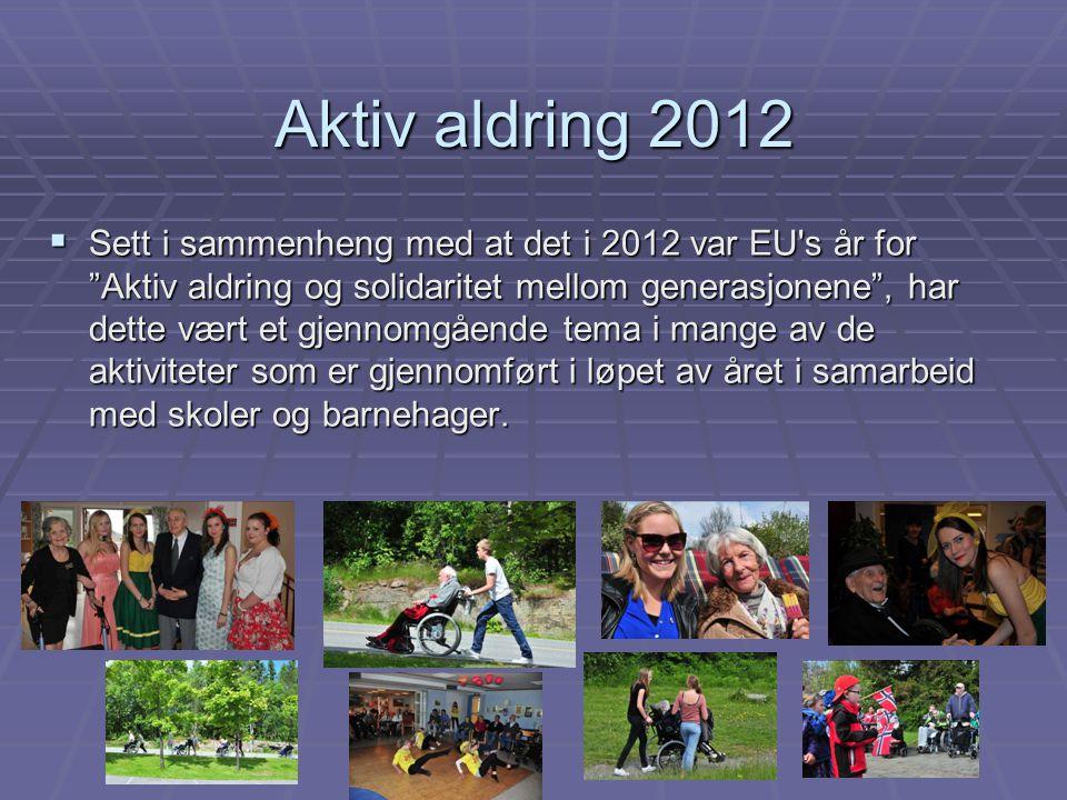 """Aktiv aldring 2012  Sett i sammenheng med at det i 2012 var EU's år for """"Aktiv aldring og solidaritet mellom generasjonene"""", har dette vært et gjenno"""