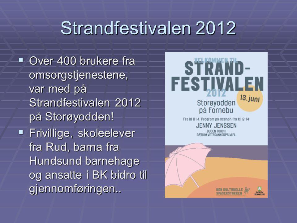 Strandfestivalen 2012  Over 400 brukere fra omsorgstjenestene, var med på Strandfestivalen 2012 på Storøyodden!  Frivillige, skoleelever fra Rud, ba