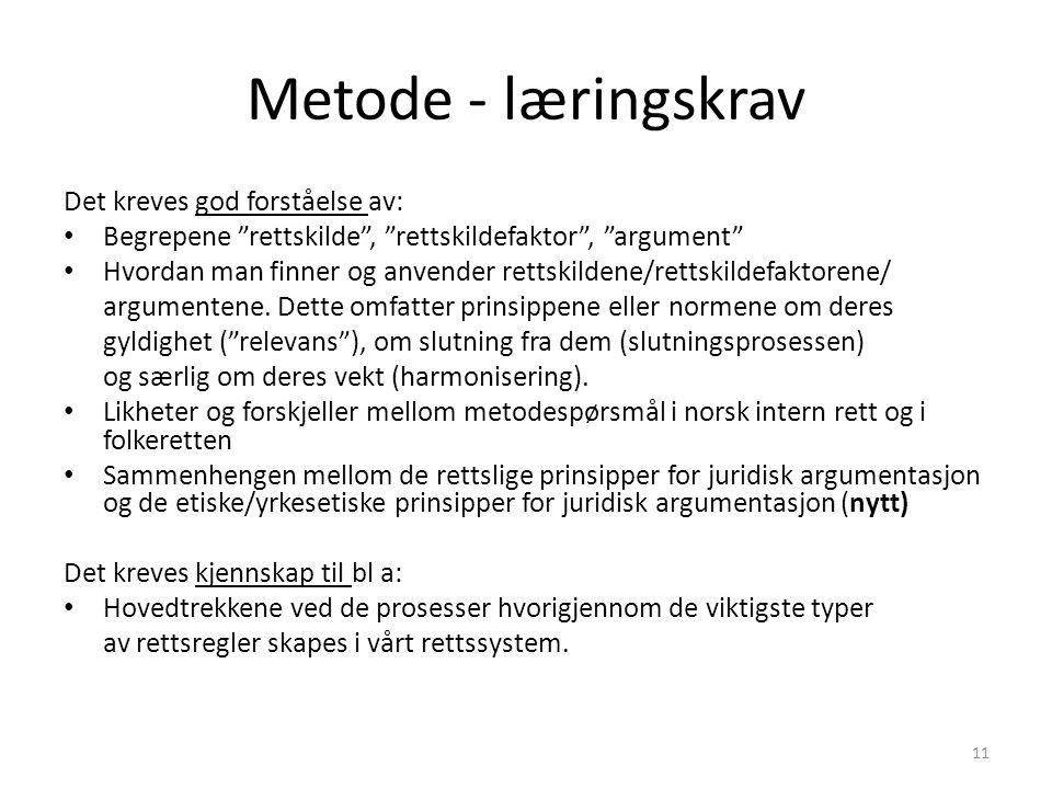 """Metode - læringskrav Det kreves god forståelse av: Begrepene """"rettskilde"""", """"rettskildefaktor"""", """"argument"""" Hvordan man finner og anvender rettskildene/"""