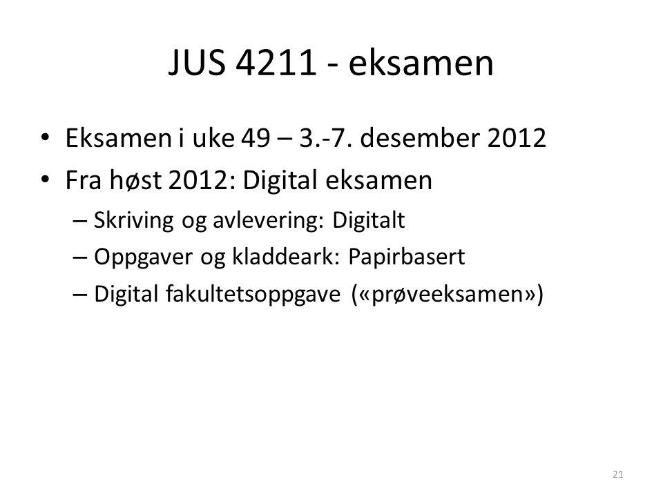 JUS 4211 - eksamen Eksamen i uke 49 – 3.-7. desember 2012 Fra høst 2012: Digital eksamen – Skriving og avlevering: Digitalt – Oppgaver og kladdeark: P
