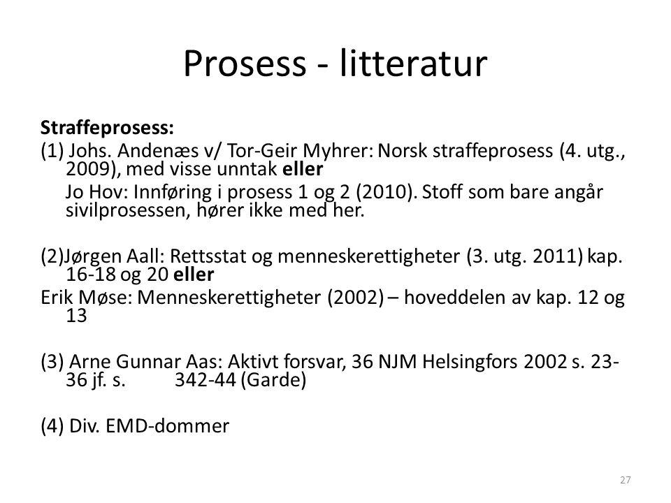 Prosess - litteratur Straffeprosess: (1) Johs. Andenæs v/ Tor-Geir Myhrer: Norsk straffeprosess (4. utg., 2009), med visse unntak eller Jo Hov: Innfør