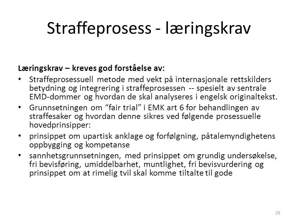 Straffeprosess - læringskrav Læringskrav – kreves god forståelse av: Straffeprosessuell metode med vekt på internasjonale rettskilders betydning og in