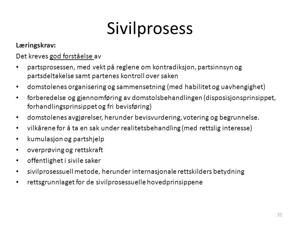 Sivilprosess Læringskrav: Det kreves god forståelse av partsprosessen, med vekt på reglene om kontradiksjon, partsinnsyn og partsdeltakelse samt parte