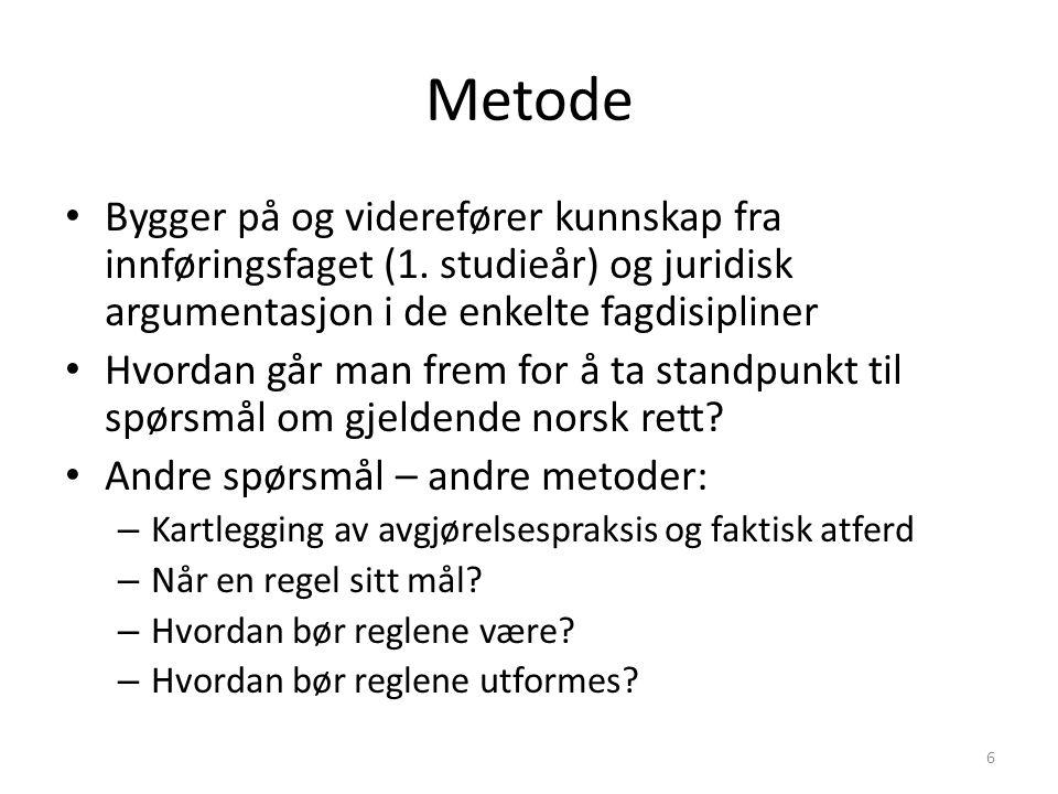 Metode - litteratur Hovedlitteratur Eckhoff, Torstein: Rettskildelære 5.