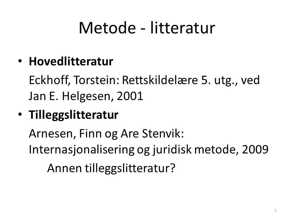 Metode - litteratur Hovedlitteratur Eckhoff, Torstein: Rettskildelære 5. utg., ved Jan E. Helgesen, 2001 Tilleggslitteratur Arnesen, Finn og Are Stenv