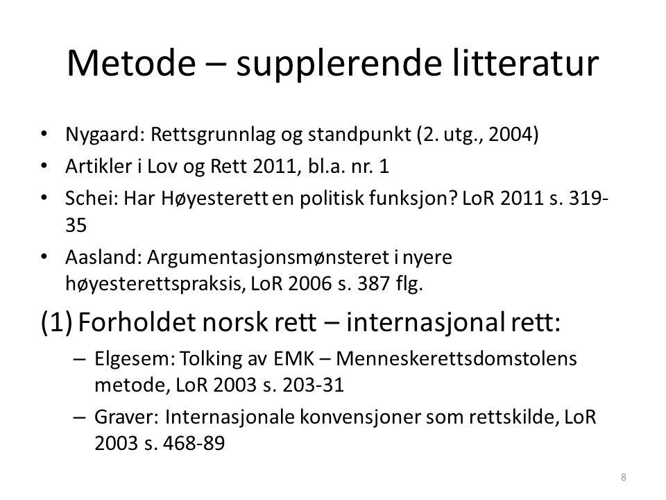 Metode – supplerende litteratur Nygaard: Rettsgrunnlag og standpunkt (2. utg., 2004) Artikler i Lov og Rett 2011, bl.a. nr. 1 Schei: Har Høyesterett e