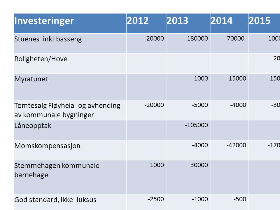 12 Investeringer2012201320142015 Hybellbygg / sporttell på Myra, kommunalt bidrag 3000 Skatehall 1000 Veilys -6000 6000-60006000 Sum -55000-134500-54000