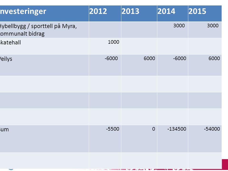 12 Investeringer2012201320142015 Hybellbygg / sporttell på Myra, kommunalt bidrag 3000 Skatehall 1000 Veilys -6000 6000-60006000 Sum -55000-134500-540