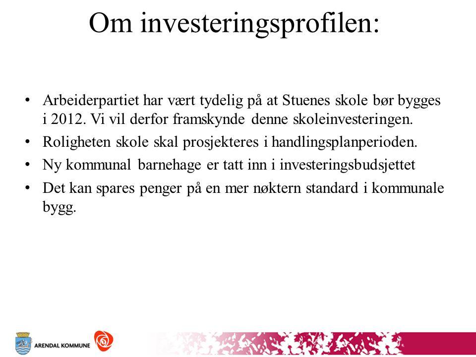 Om investeringsprofilen: Arbeiderpartiet har vært tydelig på at Stuenes skole bør bygges i 2012. Vi vil derfor framskynde denne skoleinvesteringen. Ro