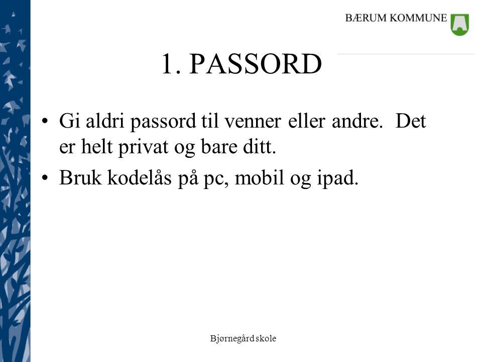 Bjørnegård skole 1. PASSORD Gi aldri passord til venner eller andre.