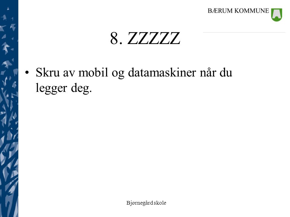 Bjørnegård skole 8. ZZZZZ Skru av mobil og datamaskiner når du legger deg.