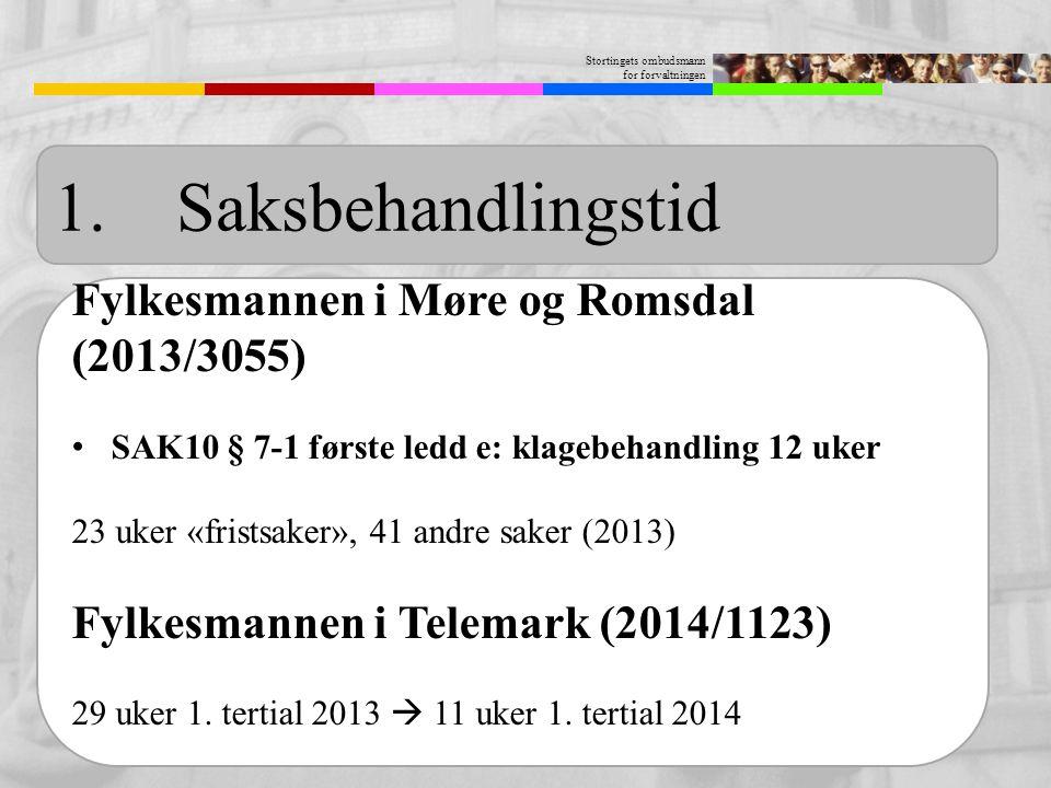 Stortingets ombudsmann for forvaltningen 1. Saksbehandlingstid Fylkesmannen i Møre og Romsdal (2013/3055) SAK10 § 7-1 første ledd e: klagebehandling 1