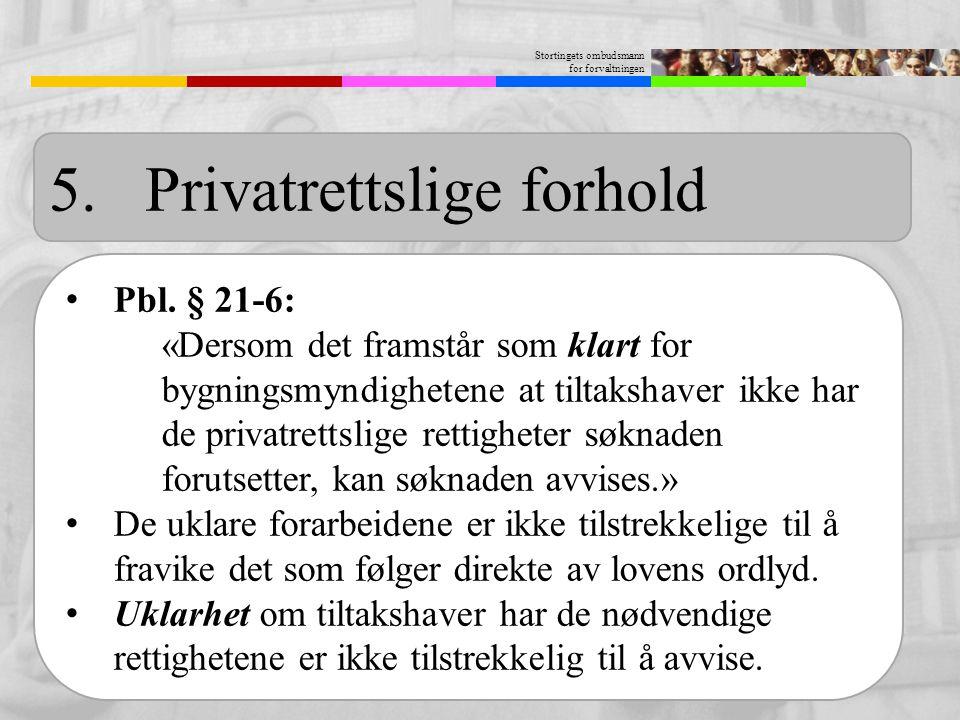 Stortingets ombudsmann for forvaltningen 5.Privatrettslige forhold Pbl. § 21-6: «Dersom det framstår som klart for bygningsmyndighetene at tiltakshave