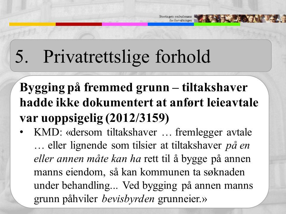 Stortingets ombudsmann for forvaltningen 5.Privatrettslige forhold Bygging på fremmed grunn – tiltakshaver hadde ikke dokumentert at anført leieavtale