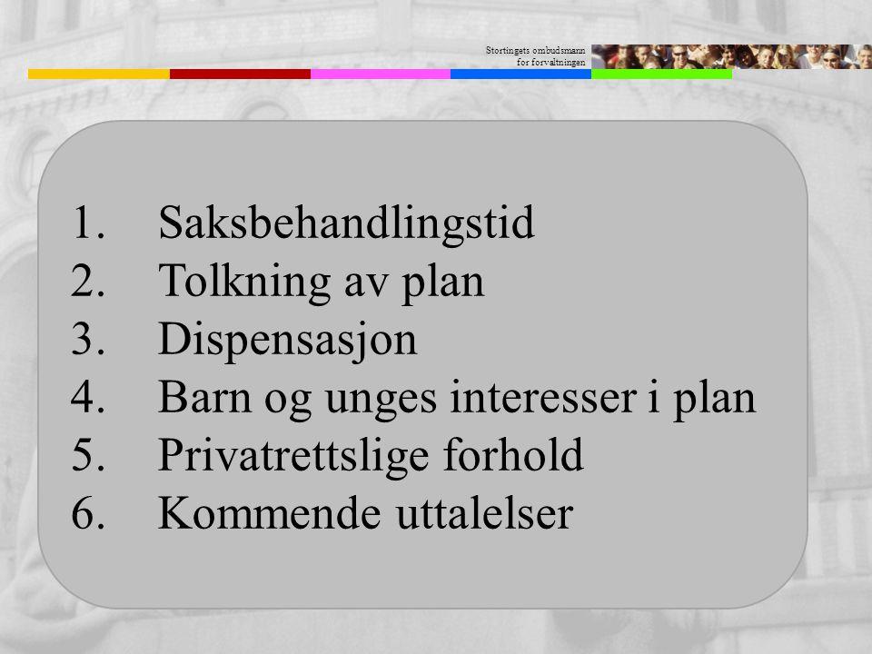 Stortingets ombudsmann for forvaltningen 1.Saksbehandlingstid 2.Tolkning av plan 3.Dispensasjon 4.Barn og unges interesser i plan 5.Privatrettslige fo