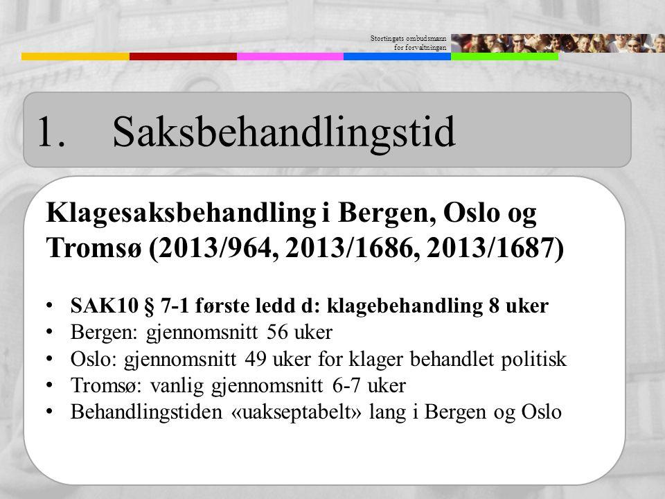 Stortingets ombudsmann for forvaltningen 1. Saksbehandlingstid Klagesaksbehandling i Bergen, Oslo og Tromsø (2013/964, 2013/1686, 2013/1687) SAK10 § 7