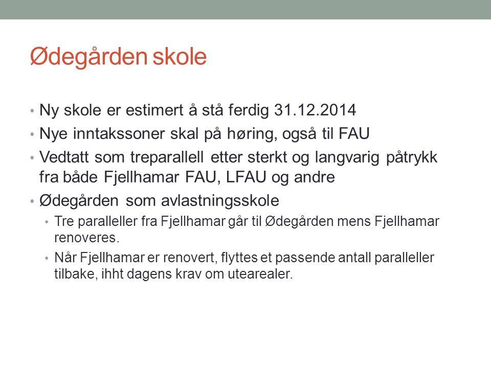 Ødegården skole Ny skole er estimert å stå ferdig 31.12.2014 Nye inntakssoner skal på høring, også til FAU Vedtatt som treparallell etter sterkt og la