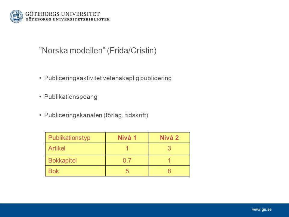 www.gu.se Norska modellen (Frida/Cristin) Publiceringsaktivitet vetenskaplig publicering Publikationspoäng Publiceringskanalen (förlag, tidskrift)