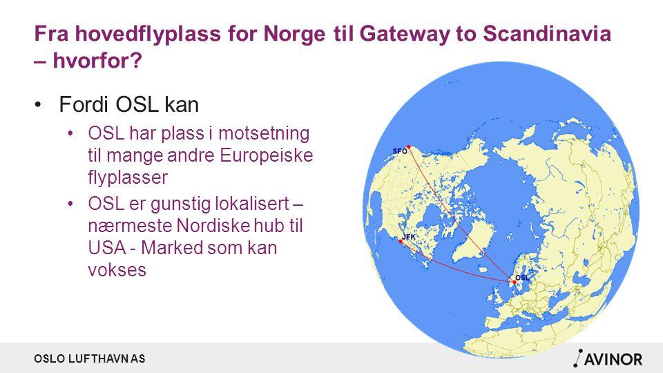 OSLO LUFTHAVN AS Fra hovedflyplass for Norge til Gateway to Scandinavia – hvorfor? Fordi OSL kan OSL har plass i motsetning til mange andre Europeiske