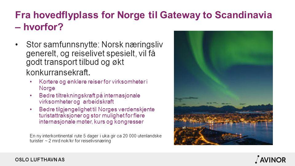 OSLO LUFTHAVN AS Fra hovedflyplass for Norge til Gateway to Scandinavia – hvorfor? Stor samfunnsnytte: Norsk næringsliv generelt, og reiselivet spesie