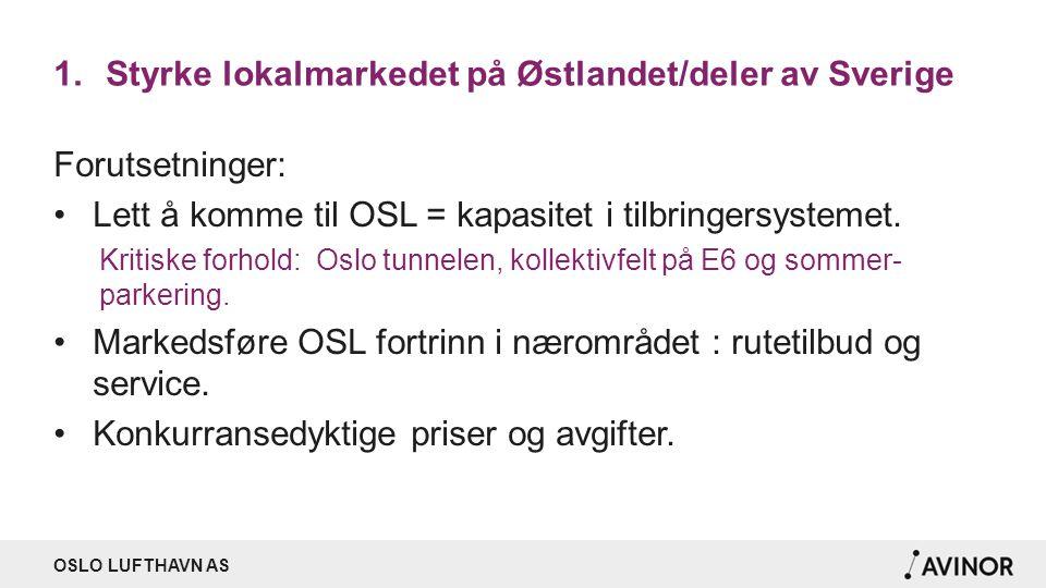 OSLO LUFTHAVN AS 1.Styrke lokalmarkedet på Østlandet/deler av Sverige Forutsetninger: Lett å komme til OSL = kapasitet i tilbringersystemet. Kritiske