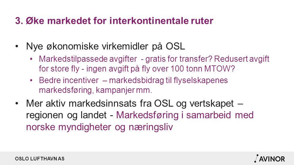 OSLO LUFTHAVN AS 3. Øke markedet for interkontinentale ruter Nye økonomiske virkemidler på OSL Markedstilpassede avgifter - gratis for transfer? Redus