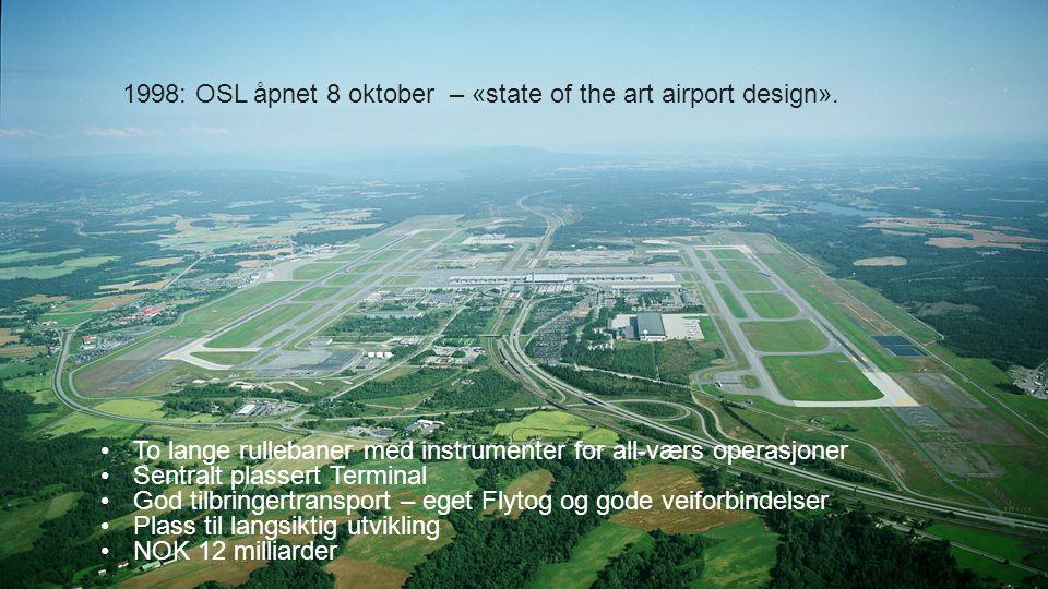OSLO LUFTHAVN AS 1998: OSL åpnet 8 oktober – «state of the art airport design». To lange rullebaner med instrumenter for all-værs operasjoner Sentralt