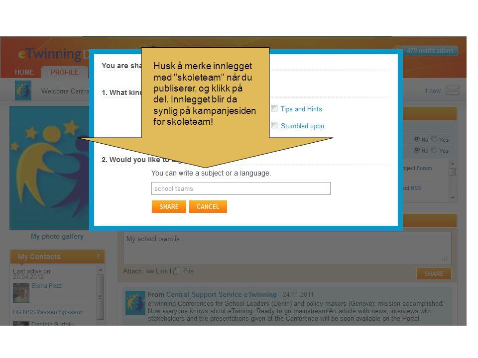 Husk å merke innlegget med skoleteam når du publiserer, og klikk på del.
