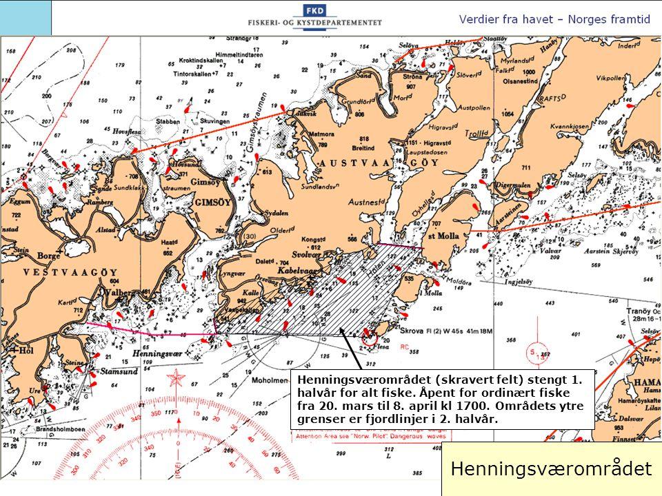 Henningsværområdet (skravert felt) stengt 1. halvår for alt fiske. Åpent for ordinært fiske fra 20. mars til 8. april kl 1700. Områdets ytre grenser e