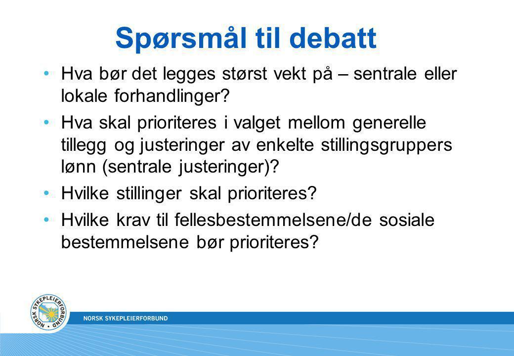 Spørsmål til debatt Hva bør det legges størst vekt på – sentrale eller lokale forhandlinger.