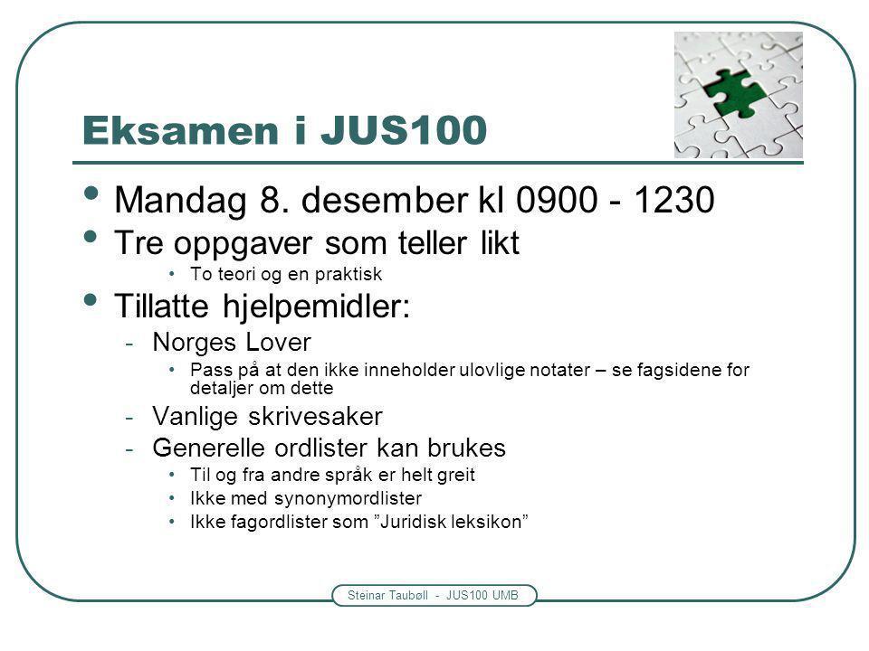 Steinar Taubøll - JUS100 UMB Eksamen i JUS100 Mandag 8. desember kl 0900 - 1230 Tre oppgaver som teller likt To teori og en praktisk Tillatte hjelpemi