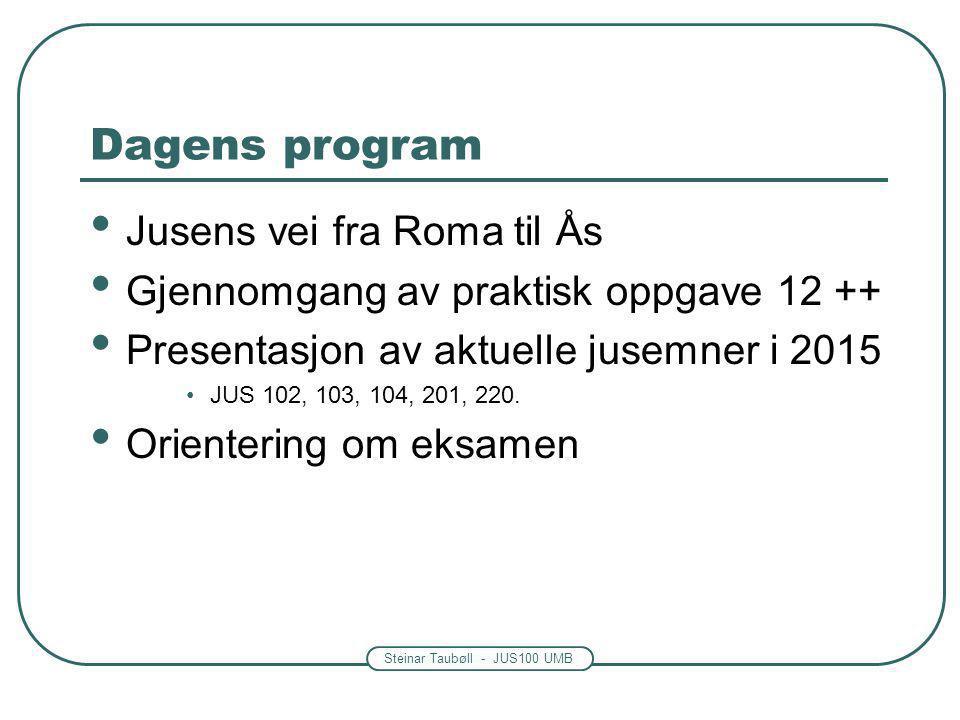 Steinar Taubøll - JUS100 UMB Dagens program Jusens vei fra Roma til Ås Gjennomgang av praktisk oppgave 12 ++ Presentasjon av aktuelle jusemner i 2015