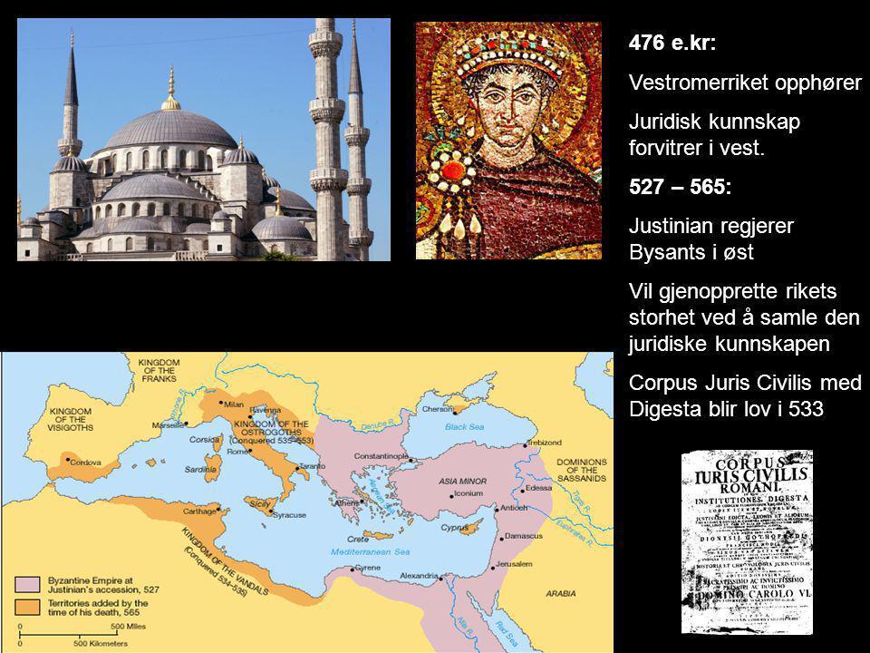 476 e.kr: Vestromerriket opphører Juridisk kunnskap forvitrer i vest. 527 – 565: Justinian regjerer Bysants i øst Vil gjenopprette rikets storhet ved