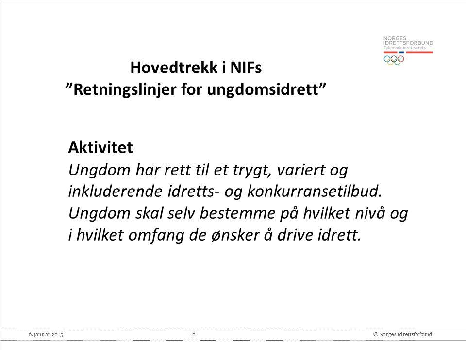 """6. januar 2015 10© Norges Idrettsforbund Hovedtrekk i NIFs """"Retningslinjer for ungdomsidrett"""" Aktivitet Ungdom har rett til et trygt, variert og inklu"""