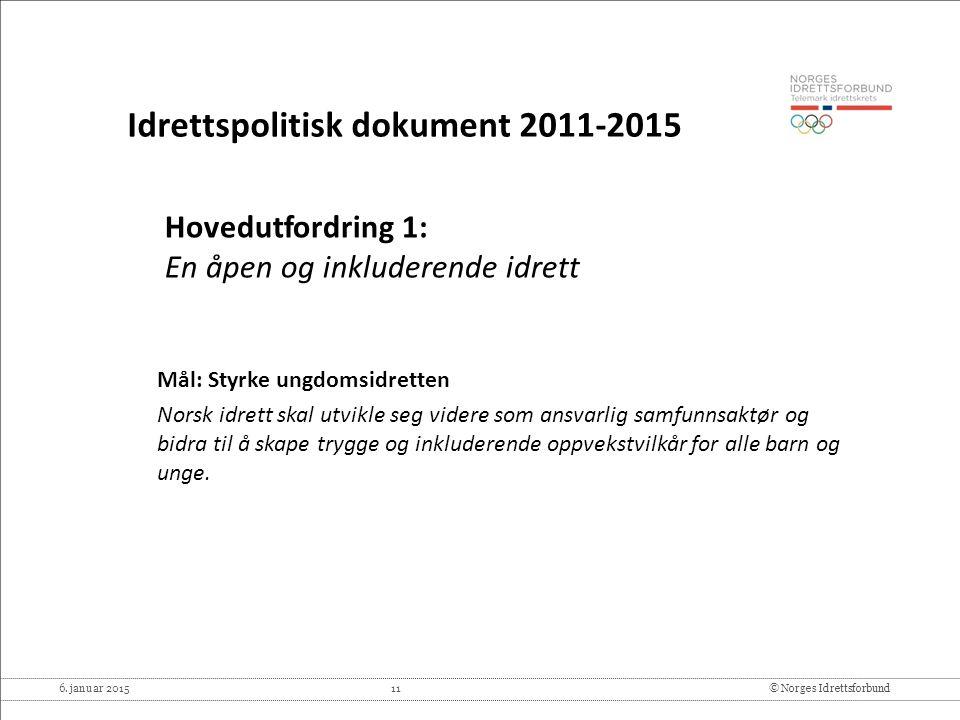 6. januar 2015 11© Norges Idrettsforbund Hovedutfordring 1: En åpen og inkluderende idrett Mål: Styrke ungdomsidretten Norsk idrett skal utvikle seg v
